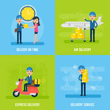 Global Logistic Flat Concept. With mailman customer and different types of delivery service vector illustration Royalty Free Stock Images