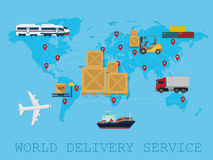 Global Logistic, shipping and service worldwide delivery world map concept. Logistic shipping service delivery world map concept Stock Image