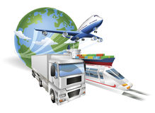 Global logistics concept airplane truck train ship Royalty Free Stock Photos