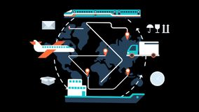 Global logistics network animation transparent vector motion graphics loop