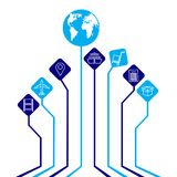 Global logistics network concept. Abstract  logistics background - connected leaves integrated flat icons. Growth tree idea with g. Lobal logistics network Stock Image