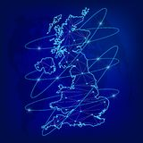 Global logistics network concept. Communications network map of the Great Britain on the world background. United Kingdom of Great. Britain and Northern Ireland vector illustration