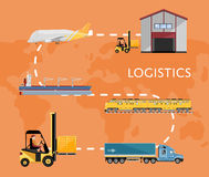 Global logistics network concept in flat design Royalty Free Stock Photography