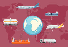 Global logistics network concept in flat design Stock Images