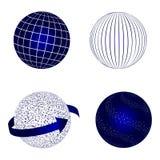 Global logistics network concept. Globe vector icons set on blue.  Set of 3d model. Stock vector. Vector illustration EPS10 Stock Images