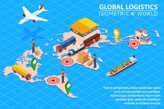 Global logistics network Flat 3d isometric vector illustration Set of air cargo. Global logistics network Flat 3d isometric vector illustration Set of air Royalty Free Stock Photos