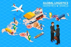 Global logistics network Flat 3d isometric vector illustration Set of air cargo trucking rail transportation maritime. Shipping. Business concept agreement and stock illustration