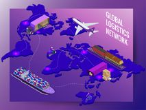 Global logistics network vector illustration
