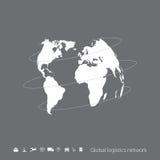 Global logistics network. Gray similar world map on gray. Stock Image
