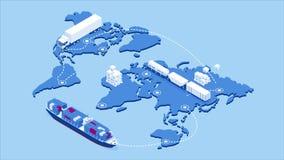 Global logistics network isometric illustration Icons set of air cargo trucking rail transportation maritime shipping On