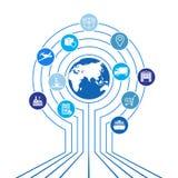 Global logistics network. Map global logistics partnership connection.  White similar world map and logistics icons. Royalty Free Stock Photos