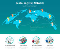 Global logistics network Web site concept Flat 3d isometric vector illustration Air cargo trucking rail transportation Stock Photos