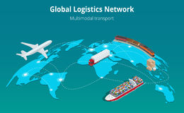 Global logistics network Web site concept Flat 3d isometric vector illustration Air cargo trucking rail transportation. Maritime shipping On-time delivery royalty free illustration