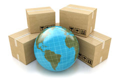 Global logistics, shipping and worldwide delivery business conce Stock Image