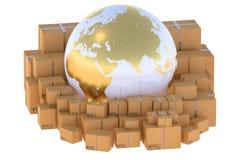 Global logistik, sändnings och världsomspännande leveransaffärsconce royaltyfri illustrationer