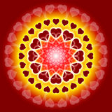 Global Love Mandala - We are one. Mandala with hearts on red background royalty free illustration