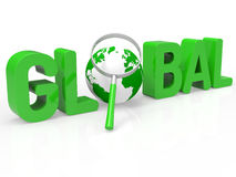 Global Magnifier Shows Searching Globe And Magnifying Stock Photos