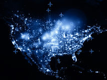 Global mail. Rendering of city light map (courtesy of NASA), abstract lights and symbols on the subject of global transportation, travel, mail and shipping Stock Image