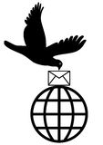 Global mailing. Mail for globe through dove in white background eps Royalty Free Stock Photo