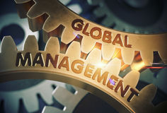 Global Management on the Golden Gears. 3D Illustration. Royalty Free Stock Image
