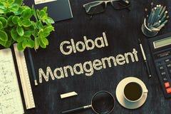 Global Management - Text on Black Chalkboard. 3D Rendering. Stock Images