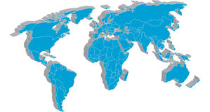 Global map with detailed country edges Royalty Free Stock Photography