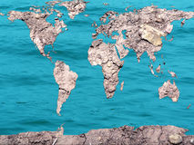 Global map dry and flooded Stock Photos