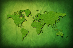 Global map with grass texture Royalty Free Stock Image