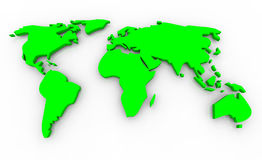 Global Map - Green on White Background. A 3d render of a green global map on a white background Stock Image
