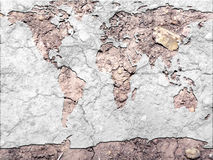 Global map parched earth. Conceptual photo manipulation of a global map and parched earth to depict results of global warming royalty free stock photo