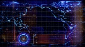 Global Map Technology Targeted 4K Loop. Features an animated map outline with moving targets and animated data scans superimposed over the map in a loop stock illustration