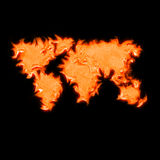 Global map of the world. With flames like fire Stock Images