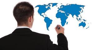 Global market expansion. A businessman presenting concepts of global market expansion. All on white background Stock Images