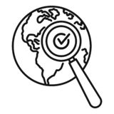 Global market search icon, outline style vector illustration