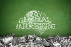 Global marketing concept on blackboard stock photography