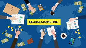 Global marketing concept discussion illustration with paperworks, paper money  Royalty Free Stock Image