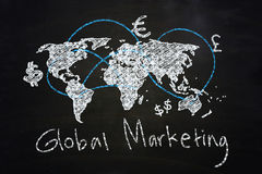 Global marketing. Concept drawn with chalk on blackboard Royalty Free Stock Photos