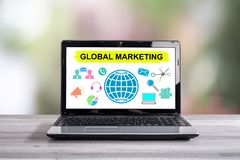 Global marketing concept on a laptop screen. Global marketing concept shown on a laptop screen stock photography