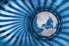 Global Markets. Blue Abstract Illustration with Globe Model and Twisted Rays. Cool Corporate Theme Royalty Free Stock Photo