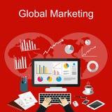 Global marknadsföringsillustration Plana designillustrationbegrepp för affär Arkivfoto