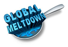 Global Meltdown. And financial crisis as a bankruptcy finance concept as an economy in trouble and business slump concept on a white background Stock Photo