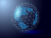 Global meshwork connections. World mesh from point and lines   Royalty Free Stock Image