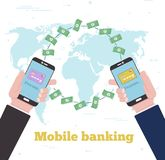 Global mobile banking concept in line art style. Banking and finance, ecommerce service, mobile payment, retail and shopping. Transfer money with smartphones Royalty Free Stock Image