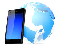 Global Mobile Networking Isolated on Background Stock Photo