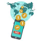 Global mobile payment stock illustration