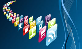 Global mobile phone apps icons Stock Photography