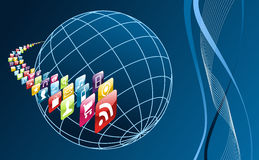 Global mobile phone apps icons arround the world Royalty Free Stock Photo