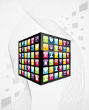 Global mobile phone apps icons cube vector illustration
