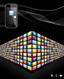 Global mobile phone apps icons wall stock illustration