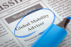 Global Mobility Advisor Join Our Team. 3D Rendering. Royalty Free Stock Image